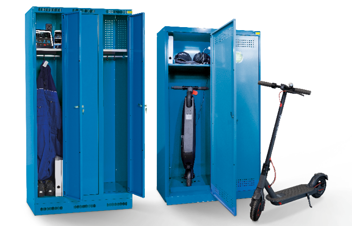 BATTERY CHARGING CABINETS as clothes lockers and for electric scooters