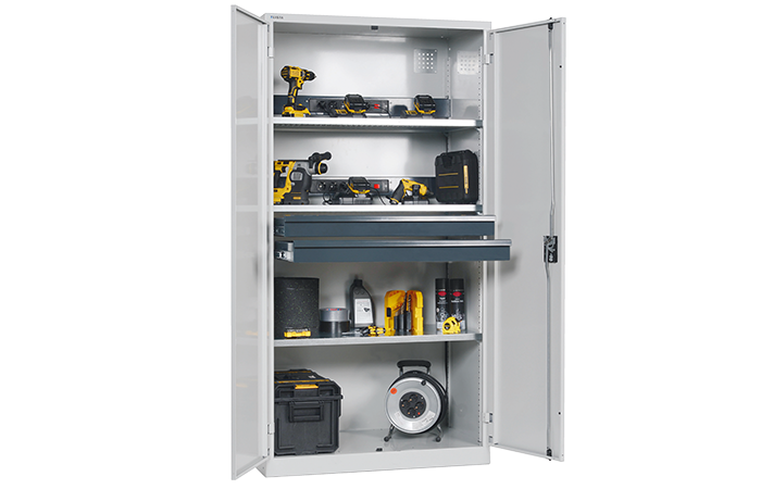 BATTERY CHARGING CABINET WITH HINGED DOORS