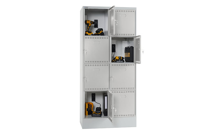 BATTERY CHARGING CABINET WITH COMPARTMENTS
