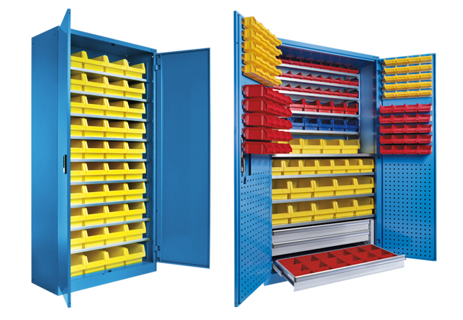 Containers and large-scale pin cabinets
